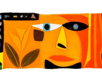 Orange Face with Leaves (2014)